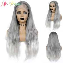 X-TRESS szary Ombre peruki o wysokiej gęstości o wysokiej gęstości syntetyczna koronka peruka Front dla czarnych kobiet długie prosto środkowa część koronkowa peruka z włosów dziecięcych
