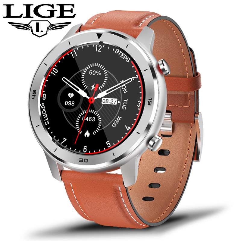 LIGE New IP68 Waterproof Smart Watch Men Heart Rate Blood Pressure Monitoring Full Touch Screen Music control Sport Smartwatch