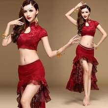 Women Belly Dance Costume Dress Top Long Skirt Chain Lace Dancewear New 904-705