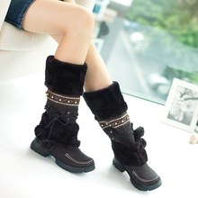 2019Classic Russian Winter Warm Thick Skin Over The Knee High Heel Boots Women's Shoes Fashion Sexy Boots Women's Shoes(China)