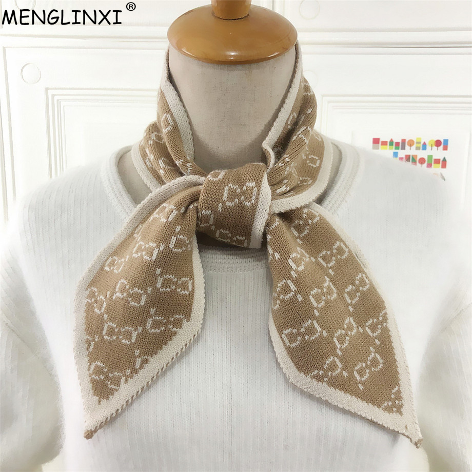 Luxury Brand Letter Knitted Scarf 2020 Winter Scarf Sharp Angle Women Scarf Long Skinny Small Scarf Female Neckerchief Scarves