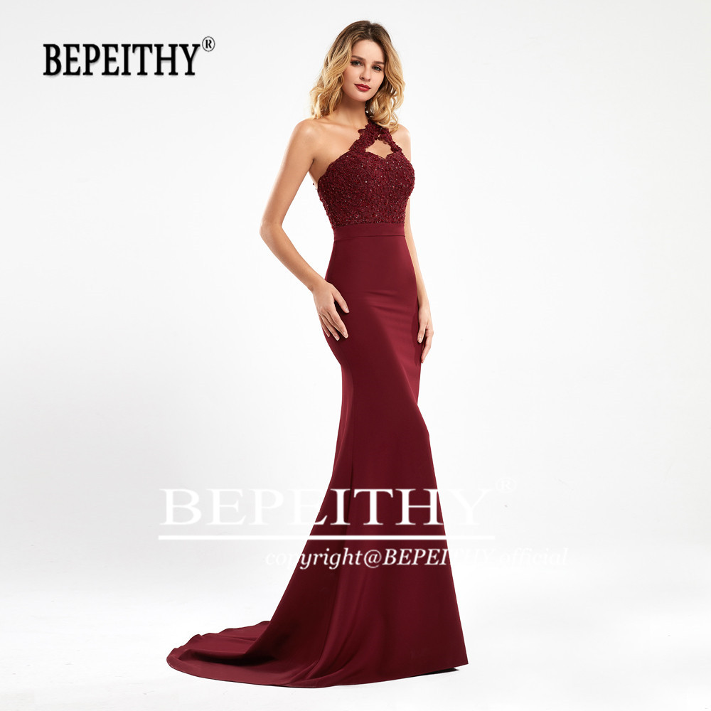 BEPEITHY Mermaid Burgundy Long Bridesmaid Dresses 2020 Sexy One Shoulder Vestidos De Fiesta De Noche Wedding Party Dress платья