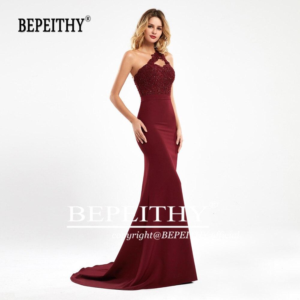 BEPEITHY Mermaid Burgundy Long Bridesmaid Dresses 2020 Sexy One Shoulder Vestidos De Fiesta De Noche Wedding Party Dress платья
