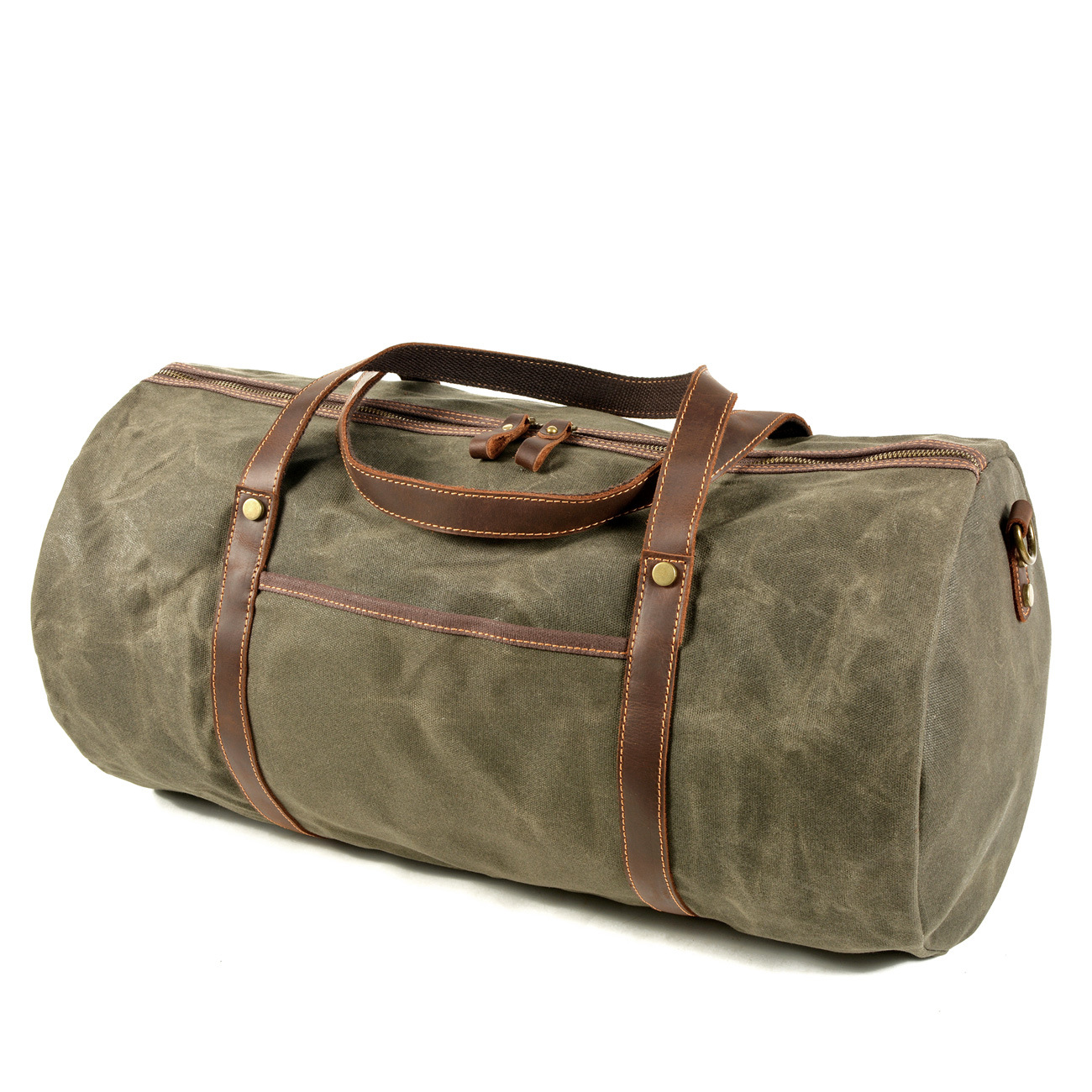 Retro men's travel bag canvas with leather large-capacity luggage bag portable waterproof business travel duffel bag red luggage