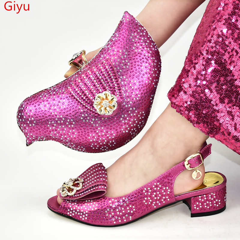 doershow Italy design fuchsia shoes and matching bag fashion set for party and wedding lady size 37-43 SJG1-2