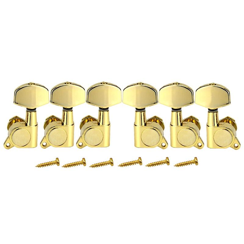 Un ensemble 6 pièces Chrome verrouillé chaîne Tuning chevilles clés accordeurs têtes de Machine pour acoustique guitare électrique serrure Style Schaller - 5