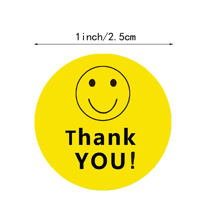 """Circular yellow """"thank you and smile"""" sticker seal label 500 label sticker packaging stationery gift sticker Scrapbook"""