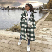 2021 neue Frauen Übergroßen Mantel Lange Überprüft Casual Mode Chic Frauen Jacken Lange windjacke Outfits