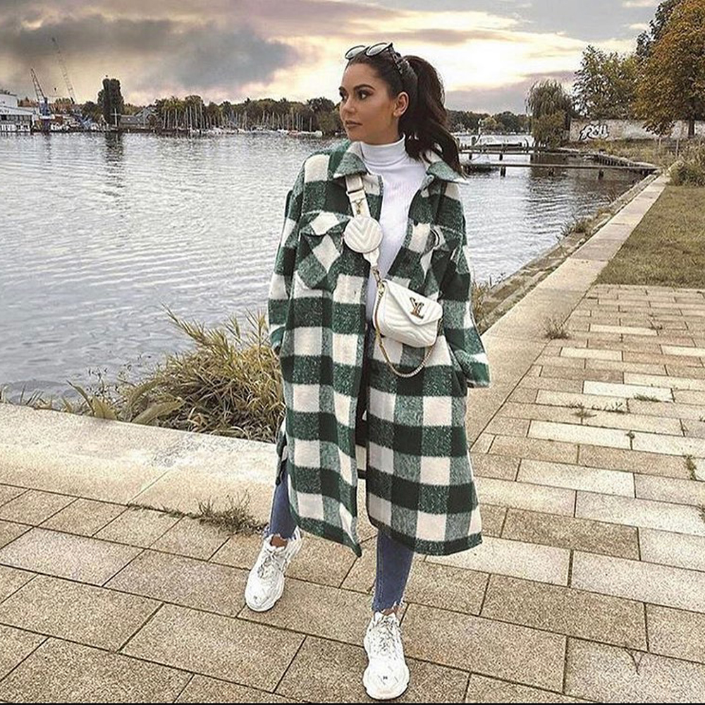 New Fall Winter Women Oversized Coat Long Checked Casual Fashion Chic Women Jackets Long windbreaker Outfits