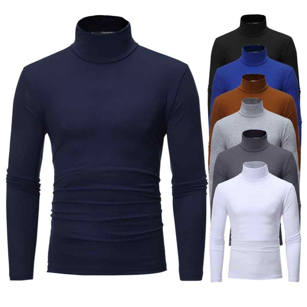 남자 패션 솔리드 컬러 긴 소매 거북이 목 스웨터 맨 위로