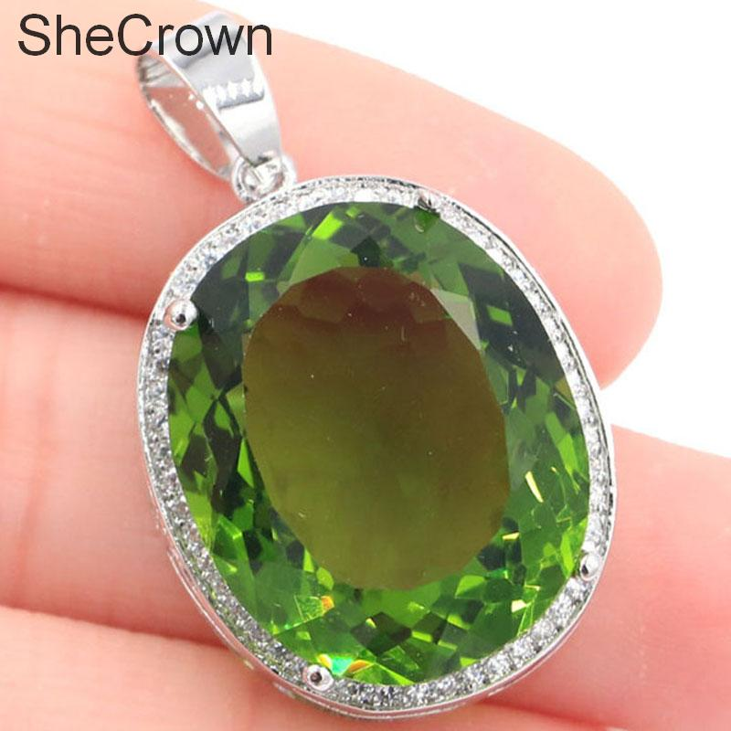 25x20mm Big Oval Gemstone Green Peridot CZ Woman's Silver Pendant