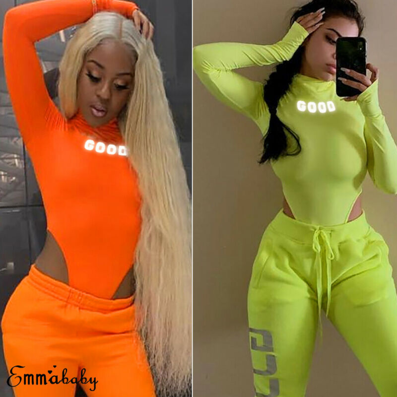 Sexy Women Bodysuits Long Sleeve Neon Luminous Letters Playsuits Autumn Bodycon Jumpsuit Rompers Womens Ladies Skinny Tops Green