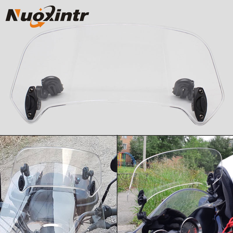 Nuoxintr Universal Motorcycle Windshield Windscreen Adjustable Motocross Windscreen Airflow Extension Deflector Spoiler
