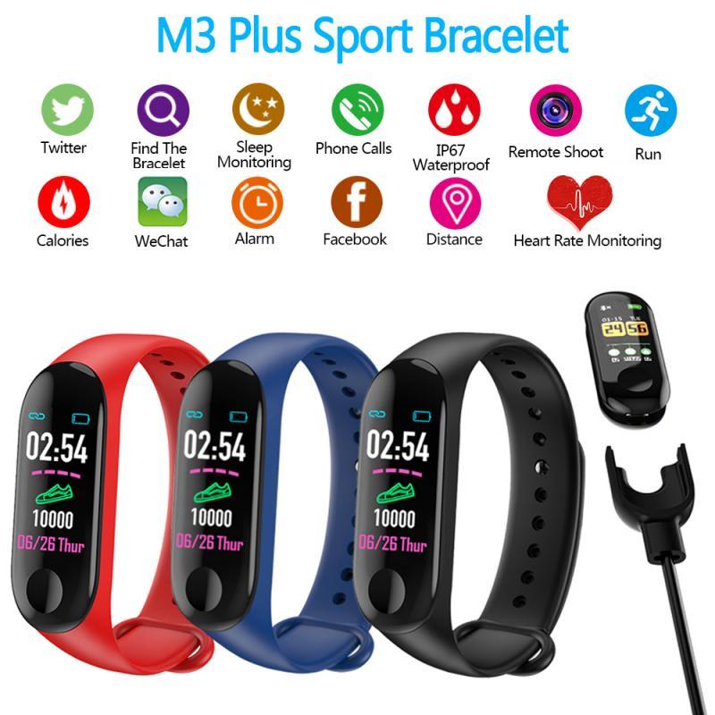 M3 Plus Smart Pedometer Band Blood Pressure Monitor Heart Rate Fitness Tracker Bracelet Step Counter Waterproof Pedometers