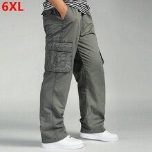 Calças casuais masculinas algodão macacão cintura elástica len completo multi bolso mais fertilizante xl roupas masculinas tamanho grande calças de carga