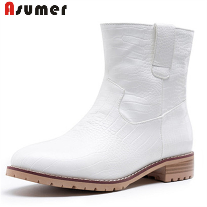 ASUMER 2020 big size 46 ankle boots women Leopard slip on round toe low heel autumn winter boots simple casual shoes woman