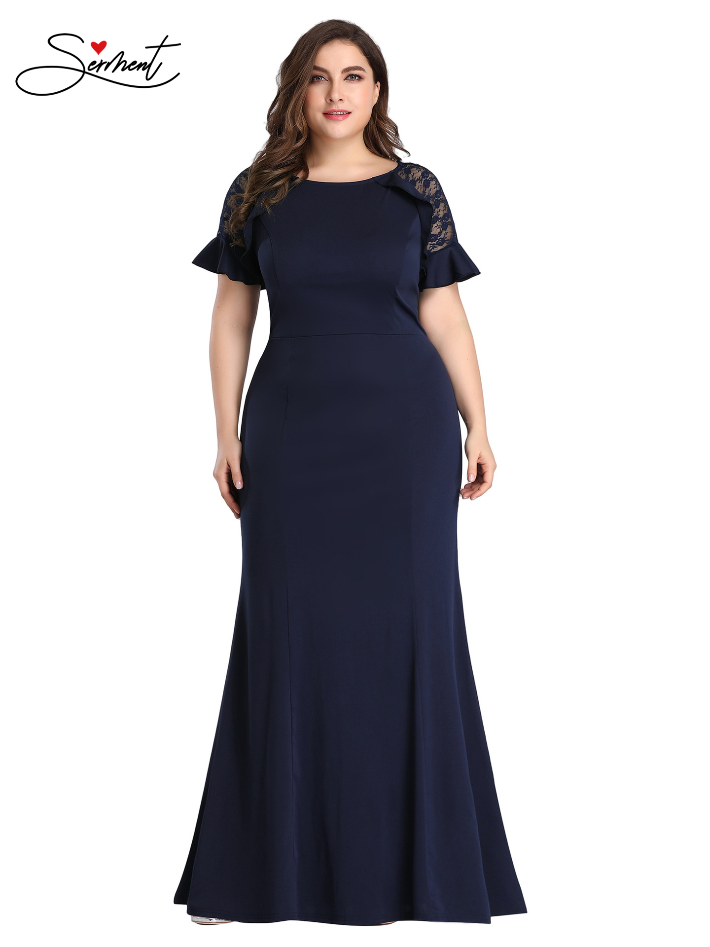 OLLYMURS New Elegant Woman Evening Gown High-quality Fabric Plus Size Chiffon Word Split Slit Long Slim Evening Dress