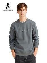 Pioneer Camp Mens Hoodies ไม่มี Hood ฤดูหนาวหนา Outwear สีเทาตัวอักษรสีดำพิมพ์เสื้อชาย AWY908306
