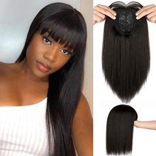 Hair-Toppers-Clip Fake Bangs Synthetic-Hair Brown Black 3-Clips Natural Straight Xbwig