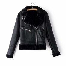 Outerwear Jacket Moto Leather-Clad Black Winter Women Cool Fashion ZXQJ Chic Female Girls