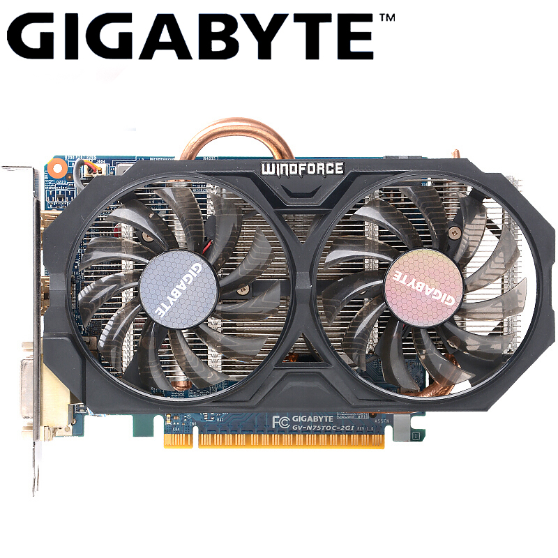 GIGABYTE Graphics Card GTX 750 Ti With Video Card WINDFORCE 2X NVIDIA GeForce Gtx 750 Ti GPU 2GB GDDR5 128 Bit For PC Used Cards