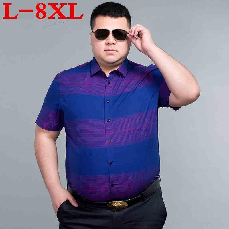 Plus Size 8XL 7XL  Men Shirts Brand Turn-down Collar Slim Fit Men Chemise Homme Casual Summer Business Shirt Mens Short Sleeve