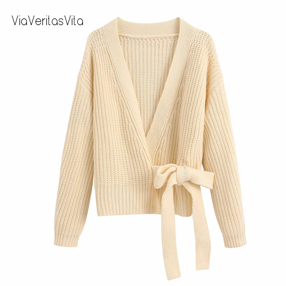 New Color Beige Womens Cropped Knit Cardigan With Belt Long Sleeve Stylish Zoravicky Female Sweaters Green Pink Cardigans Winter