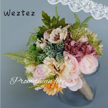 Eleganckie suknie ślubne bukiet ślubny sztuczne kwiaty bukiety ślubne dla panny młodej moda dla nowożeńców bukiety ślubne akcesoria PH34 tanie i dobre opinie NYLON 28cm 20cm 0 45kg bridal bouquet wedding bouquet