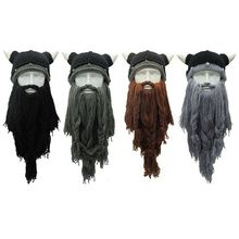 Adult Crazy Pokemon Halloween Costumes For Women Cosplay Knitted Viking Beard Horn Hat Mask Barbarian Vagabond Vintage Beanie