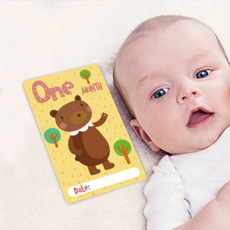 12 Sheet Milestone Photo Sharing Cards Gift Baby Age Cards Newborn Photo Props D7YD