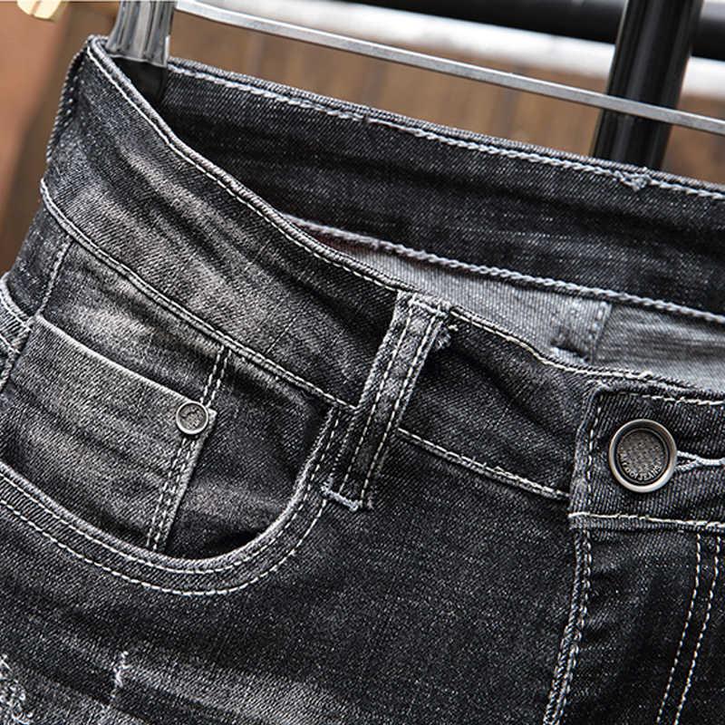 Męskie dżinsy męskie męskie Jean Homme Denim dopasowane obcisłe spodnie spodnie proste czarne Biker Skinny zgrywanie Spijkerbroeken Heren Hip Hop