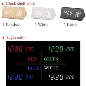 Image 5 - ไม้LEDนาฬิกาปลุกควบคุมเสียงดิจิตอลอุณหภูมิความชื้นไม้Despertadorนาฬิกาตั้งโต๊ะUSB/AAA