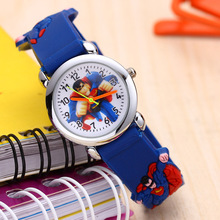 Super hero Children Watch for Girls Boys Pupils Student Cloc