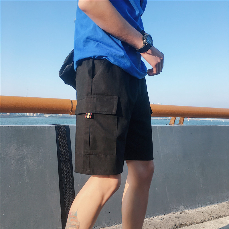 Cargo Shorts Men Summer Straight Solid Casual Shorts Elastic Waist Knee Length Streetwear Mens Shorts