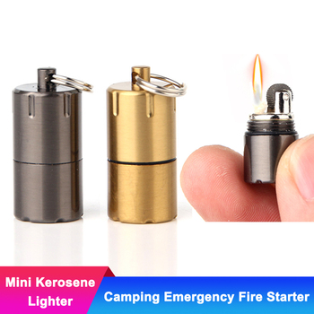 mini metal kerosene oil capsule gasoline lighter and emergency fire starter key chain