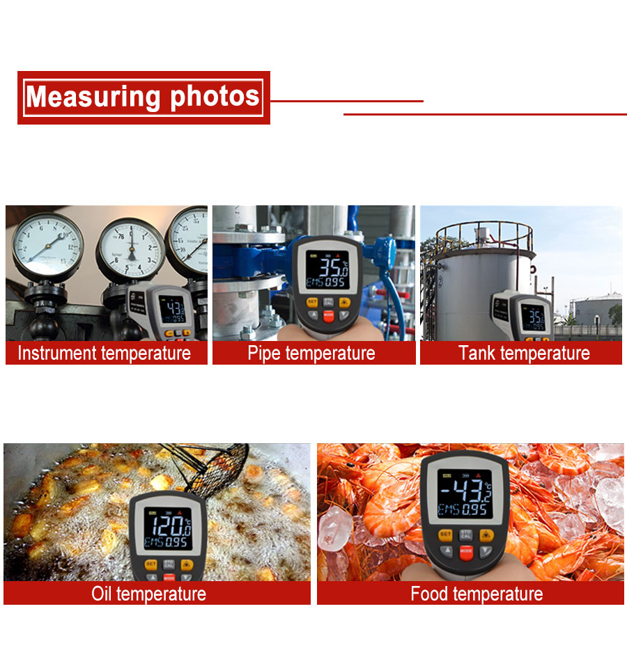 Hf21eaf1c552d4057aa8a843f6df45560F RZ IR Infrared Thermometer Thermal Imager Handheld Digital Electronic Outdoor Non-Contact Laser Pyrometer Point Gun Thermometer