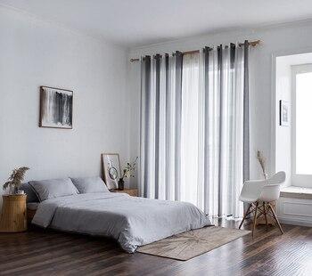 Rideaux voilés pour cuisine ou salon gris et blanc