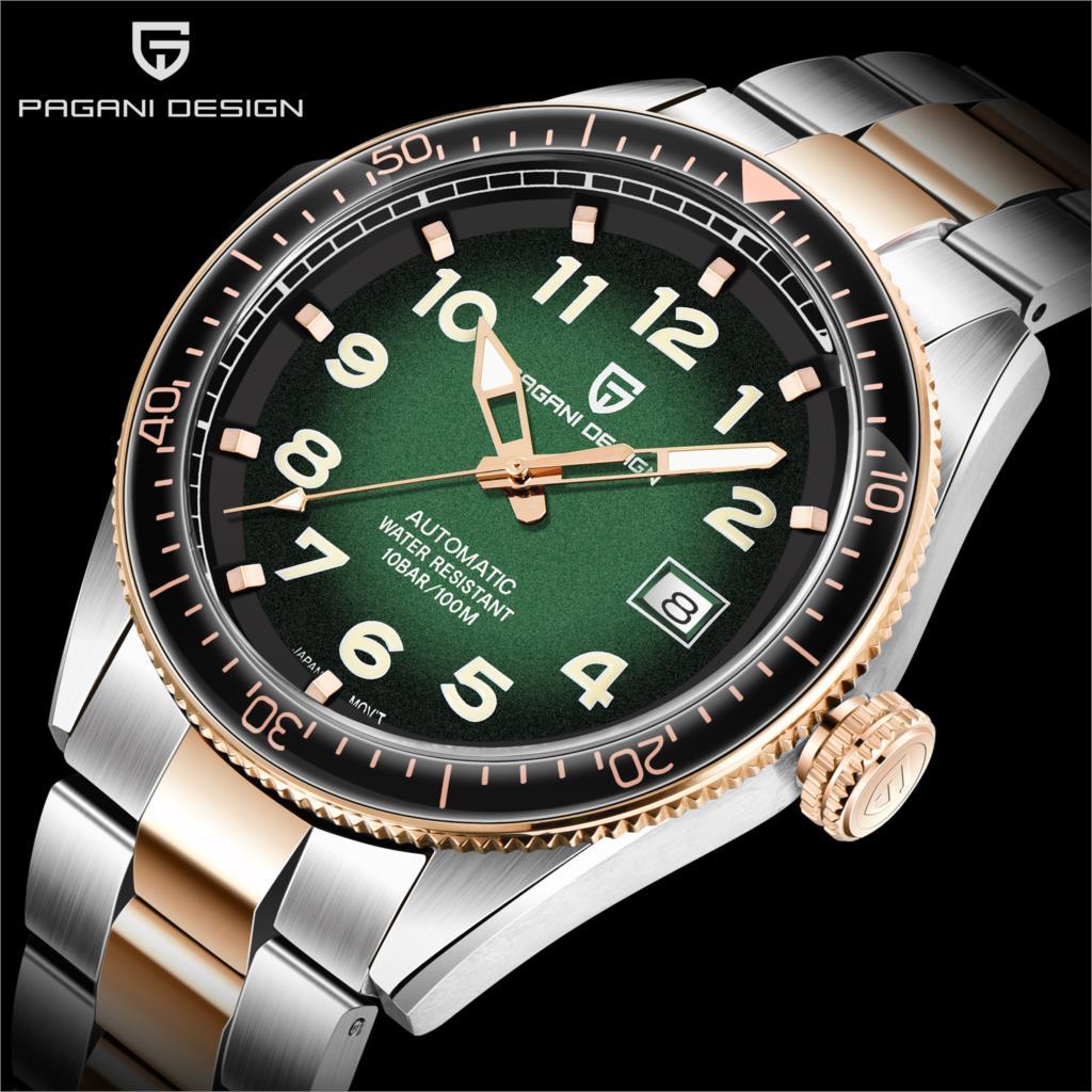 Marca de Luxo dos Homens Inoxidável à Prova Relógio de Pulso Pagani Design Topo Relógios Relógio Automático Homem Aço Dwaterproof Água Esporte Negócios Mecânico