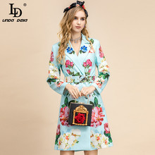 Outwear Overcoat Long-Sleeve LINDA DELLA Designer Women Floral-Print Autumn Single-Breasted