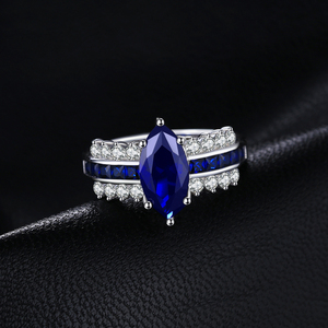 Image 2 - JewelryPalace Luxury Created Blue Sapphire Ring 925 Sterling Silver Rings for Women Engagement Ring Silver 925 Gemstones Jewelry