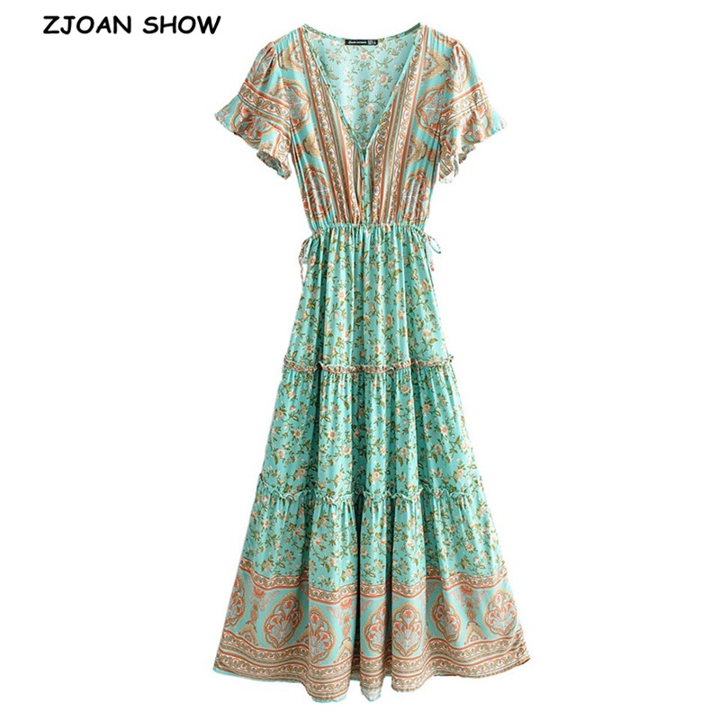 2020 BOHO Covered Button V Neck Floral Print Bohemia Dress Summer Ethnic Woman Short Sleeve Tie Bow Strappy Maxi Long Dresses