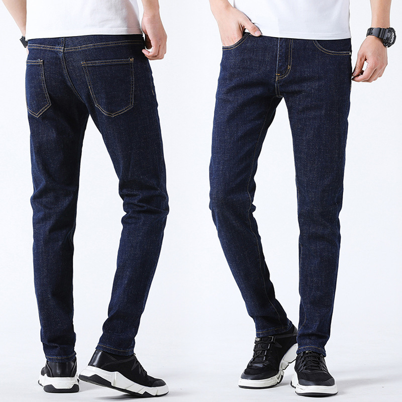 2019 Spring And Summer Men's Versatile Primary Color Elasticity Slim Fit Pants Cowboy Trousers Youth Medium Waist Casual Men's T