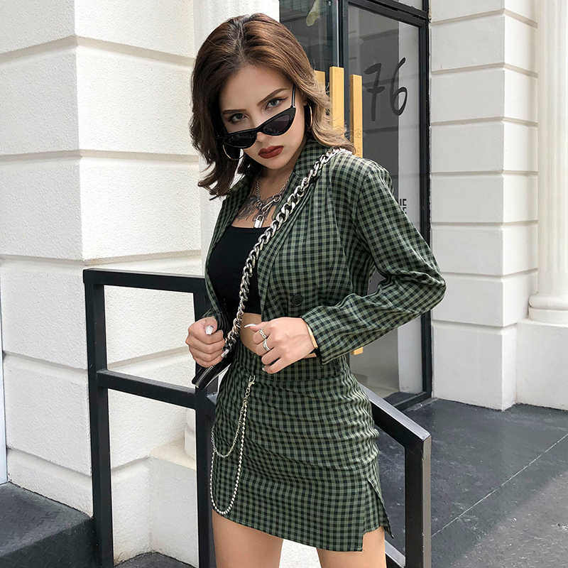 Rockmore Plaid Cropped Uitloper Jassen Set Korea Vintage Lange Mouwen Geruite Jas Twee Stukken Womens Harajuku Streetwear Fall