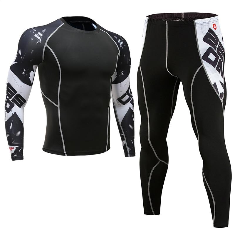 MMA Boxing Compression Sport Suit Men Kickboxing Set T-Shirt+Pants Fitness Rashguard MMA Training Clothes Workout Jerseys Set