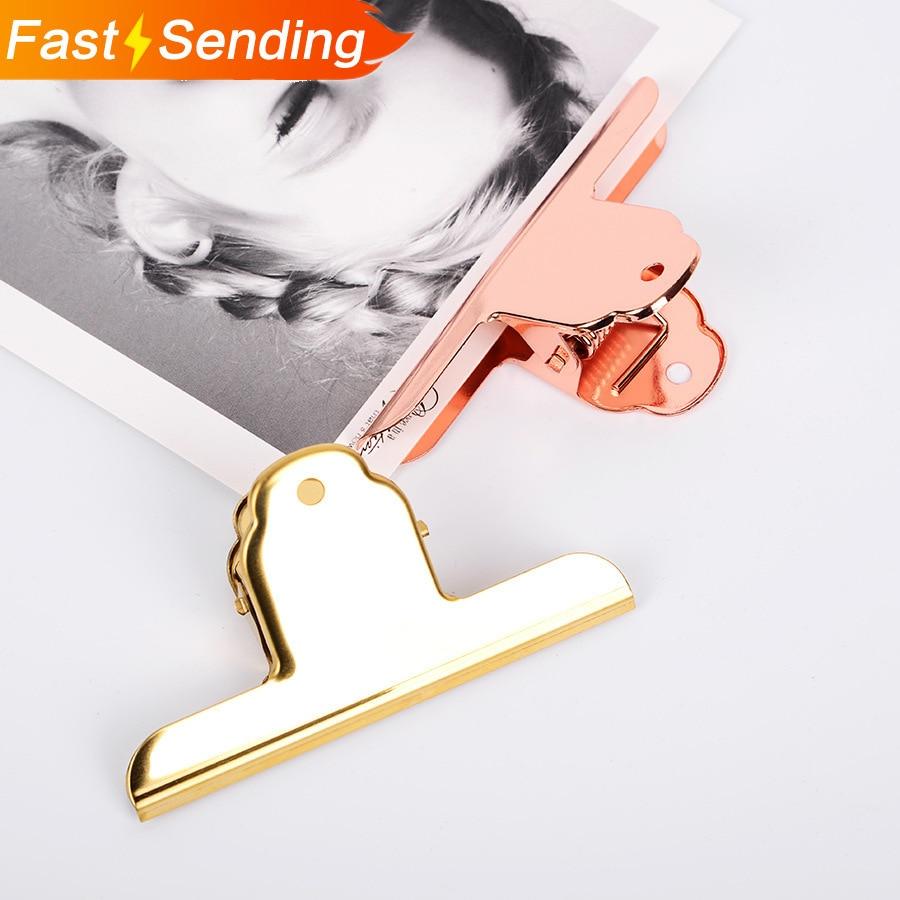 JIANWU 1pc Large Size  Simple Rose Gold Clip Creative Metal Clip Memo Clip Lovable Bill Folder Kawaii Office Stationery