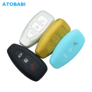 Silicone Car Key Case For Ford Focus 3 4 MK3 ST RS Kuga Escape Ecosport Fiesta 3 Buttons Smart Remote Fob Protect Cover Keychain