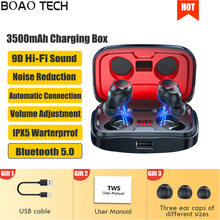 TWS Wireless Headphones Fone Bluetooth 3500mAh Charging Box Earphone 9D Stereo Sound Sport Waterproof Earbuds Headset For IPhone