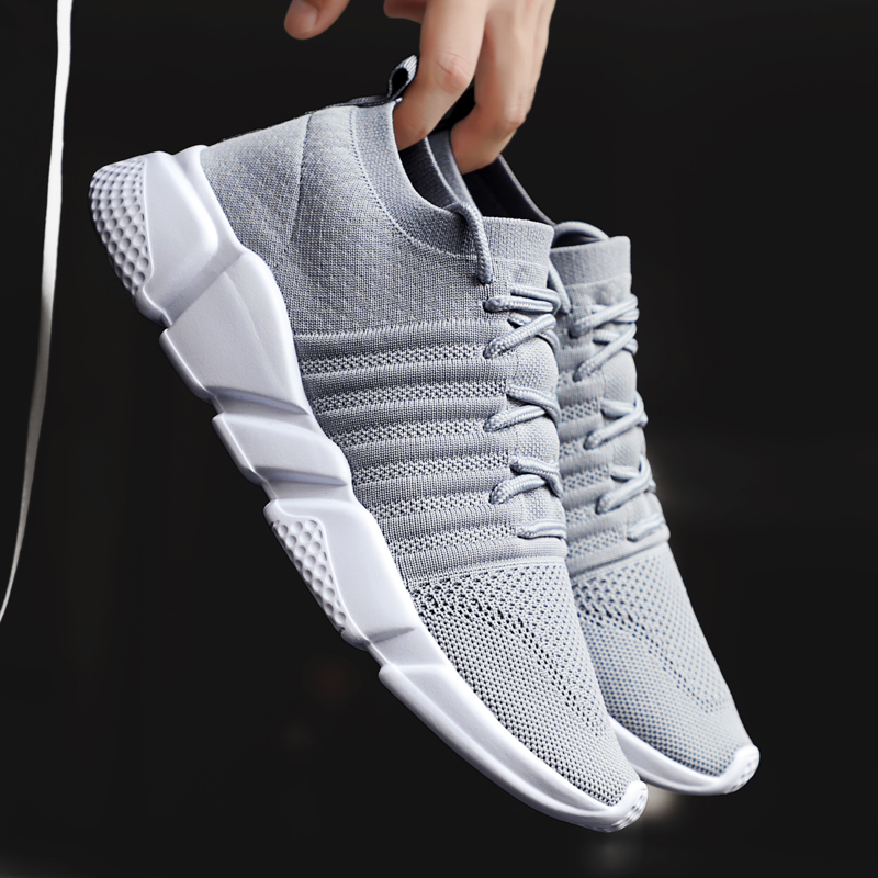 Men Sneakers Lightweight Flykint Casual Shoes Men Slip On Walking Socks Shoes Trainers Mesh Flat Homme Big Size Tenis Masculino