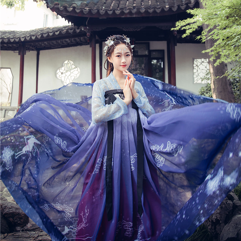 Hanfu Chinese Style Ancient Costume Traditional Folk Dance Stage Performance Clothing Retro Singers Princess Fairy Dress DQS4351