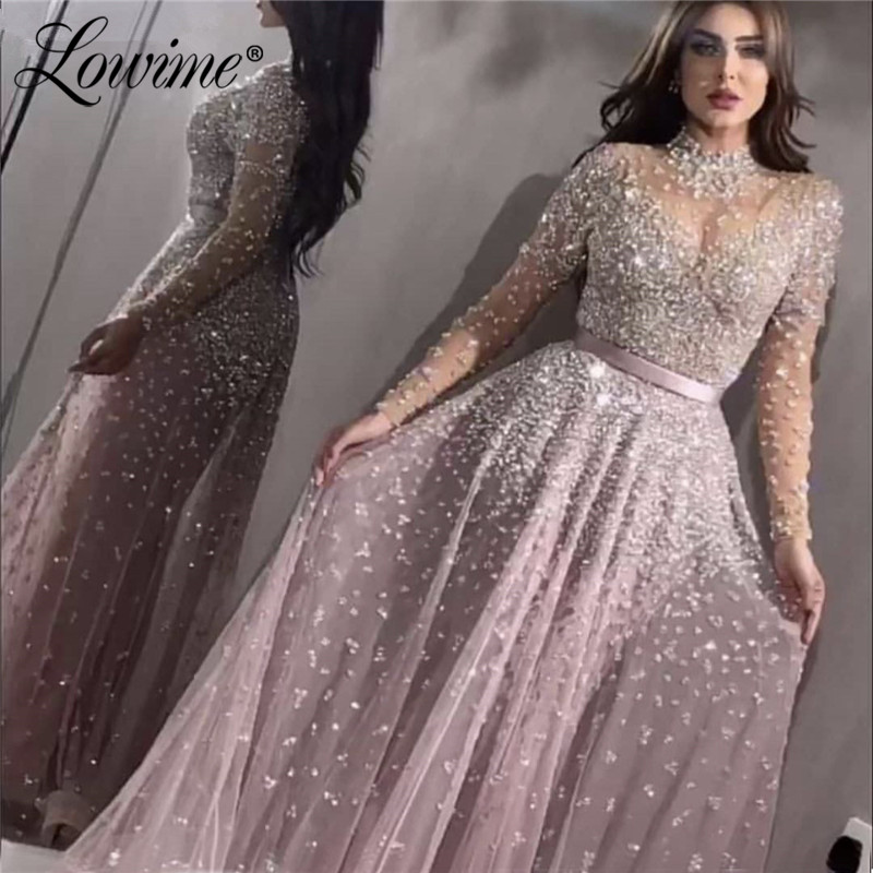 Long Sleeves Illusion High Neck Handmade Beaded Sequins Arabic Abendkleider Evening Dress 2020 Robe De Soiree Longue Party Gowns